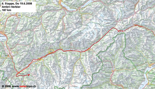 Tour de Suisse - Stage 6 Map